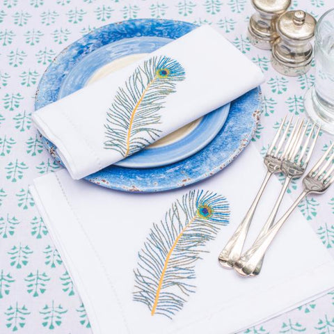 Peacock Feather Napkins - Set of 4
