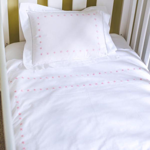 Pink Star Cot Bed Duvet Cover Set