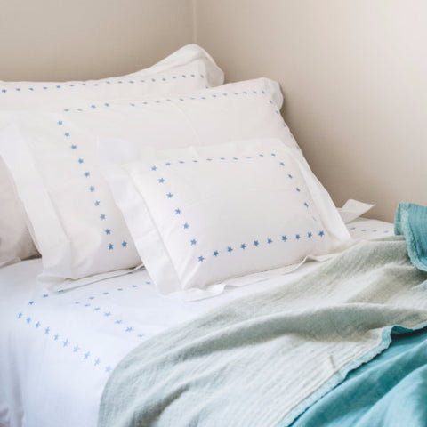 Blue Star Border Pillowcase