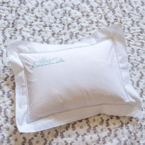 aqua bunnies pillowcase