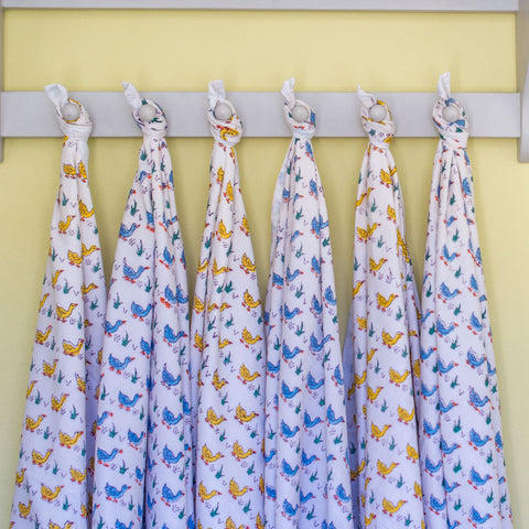 Duck print cotton blanket - blue