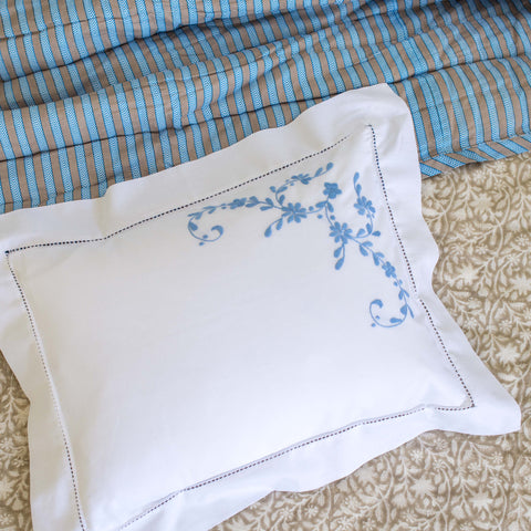 Blue floral baby pillowcase