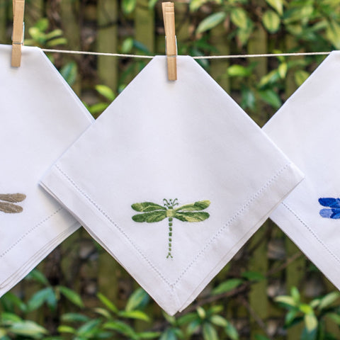 Shaded green dragonfly napkin