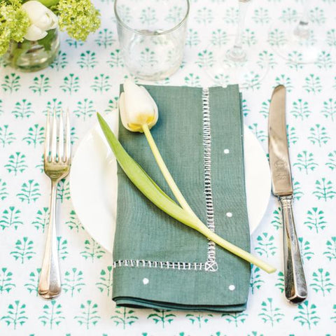 Green Linen Napkins - Set of 4