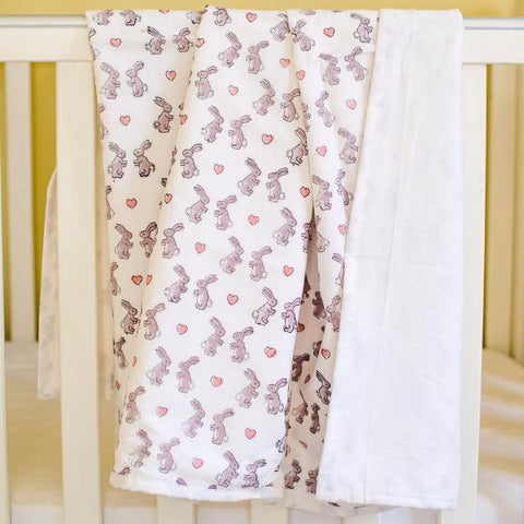 pink bunnies cotton blanket