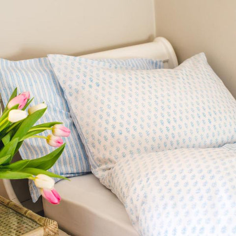 blue sprig and stripe pillowcase