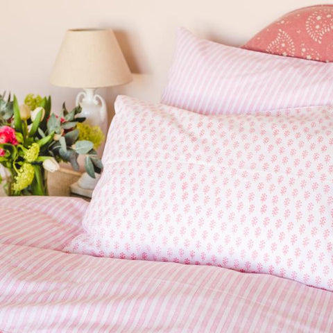 pink sprig and stripe pillowcase