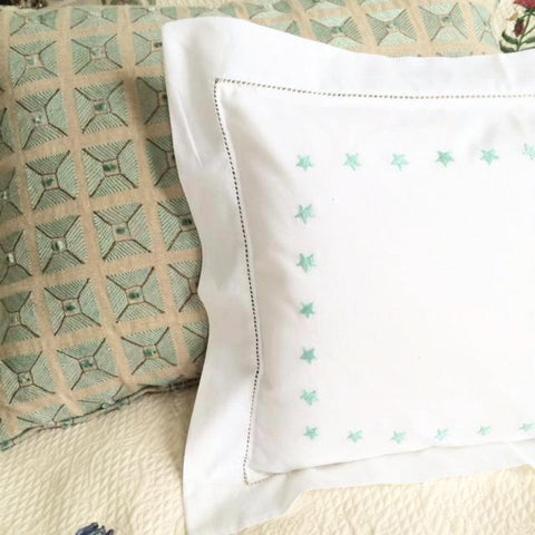 Aqua Star Border Baby Pillowcase