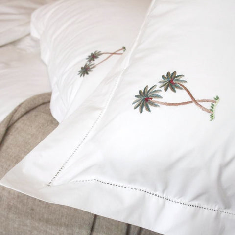 Palm tree embroidered pillowcase