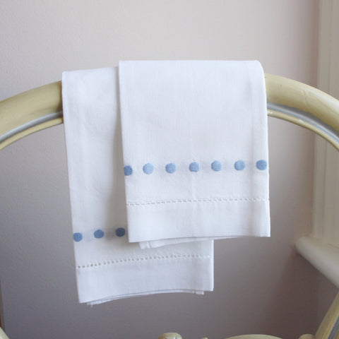 blue dots embroidered hand towel