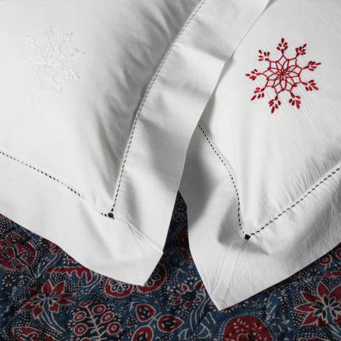 snowflake embroidered baby pillowcases