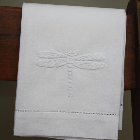 White dragonfly embroidered hand towel