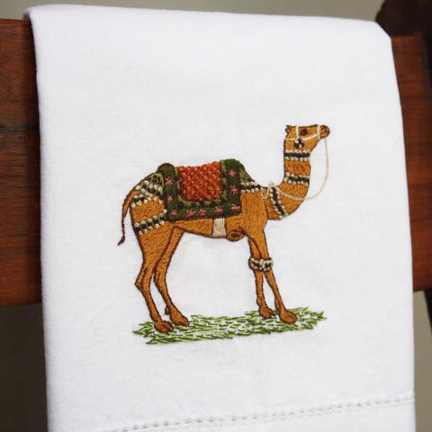 camel hand towel embroidered