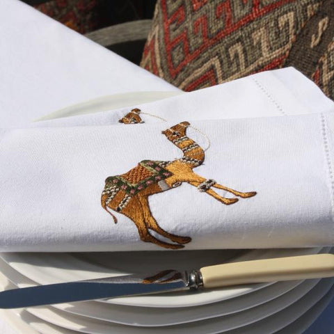 hand embroidered camel napkin