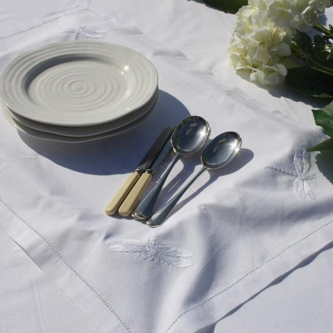 White Dragonfly Tray Cloth