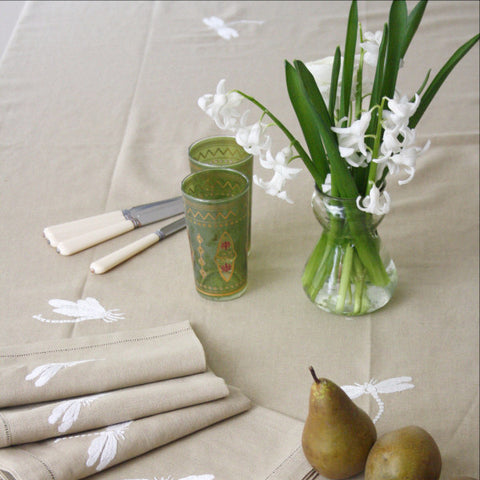 Oatmeal Dragonfly Tablecloth