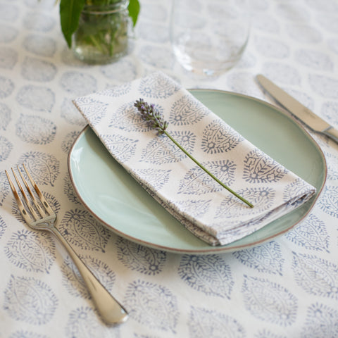 Grey Leaf Print Tablecloth