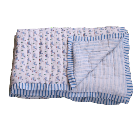 mini duck print cot quilt and play mat in blue