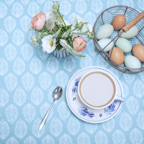 Blue Oilcloth - sold by the HALF metre