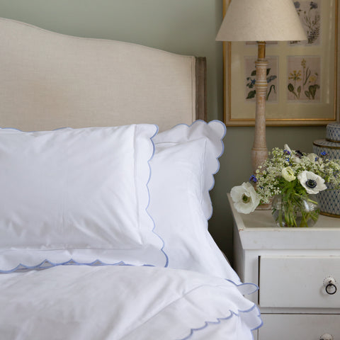 Blue Scalloped Edge Duvet Cover