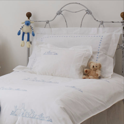 Blue bunnies embroidered cot bed duvet cover