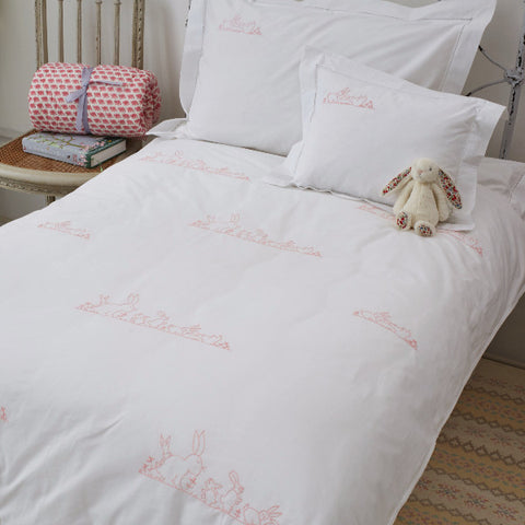 Pink Bunnies Cot Bed Duvet Cover Set