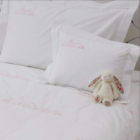 Pink Bunnies Cot Bed Pillowcase
