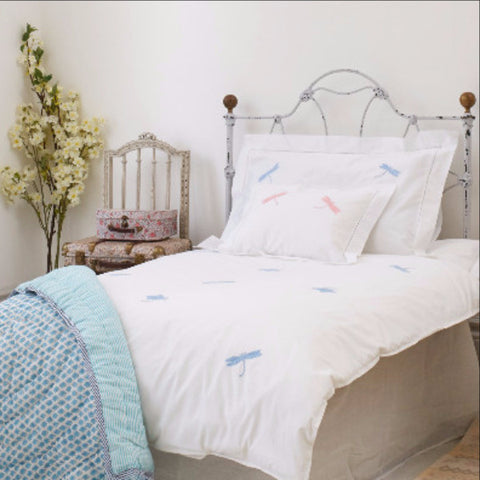 Blue dragonfly embroidered cot bed duvet cover