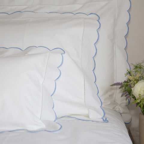 Scalloped Edge Oxford Pillowcase Blue