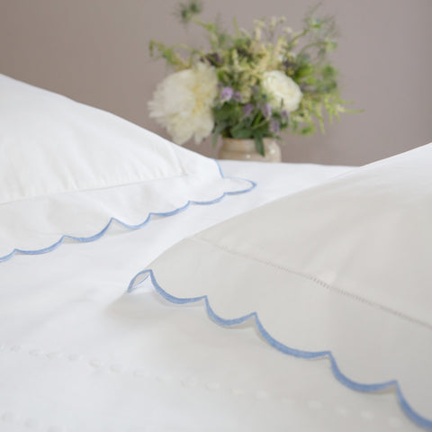 Scalloped Edge Baby Pillowcase Blue