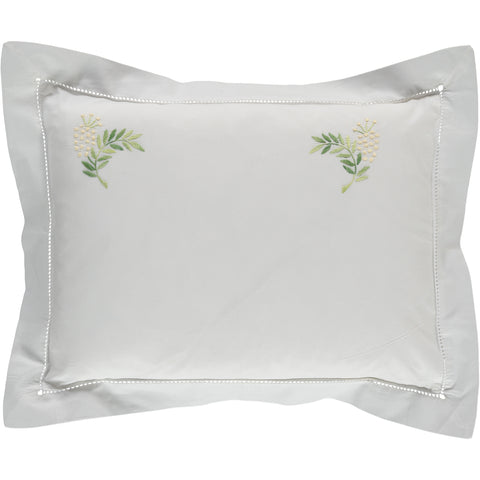 Pretty mimosa floral embroidered pillowcase