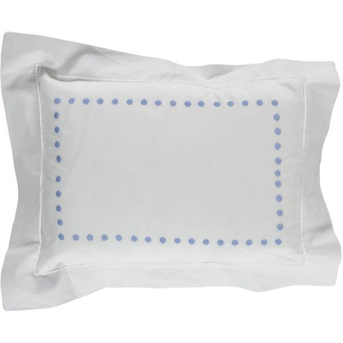 Blue dots embroidered baby pillowcase