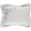 blue floral hand embroidered pillow case