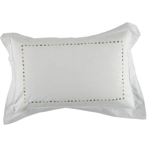 shaded green embroidered dot pillowcase