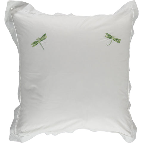 Shaded green embroidered dragonfly square pillowcase