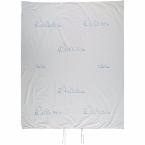 blue bunnies embroidered single duvet cover