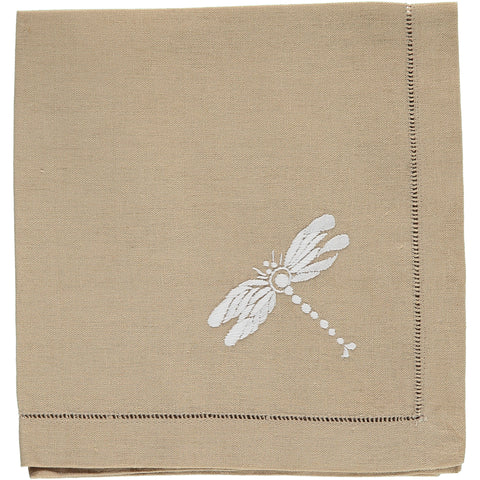 embroidered napkin on oatmeal linen