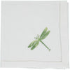 Shaded green dragonfly embroidered napkin