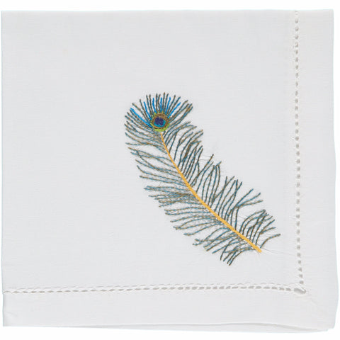 peacock embroidered napkin