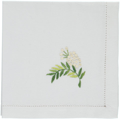 Mimosa embroidered napkin