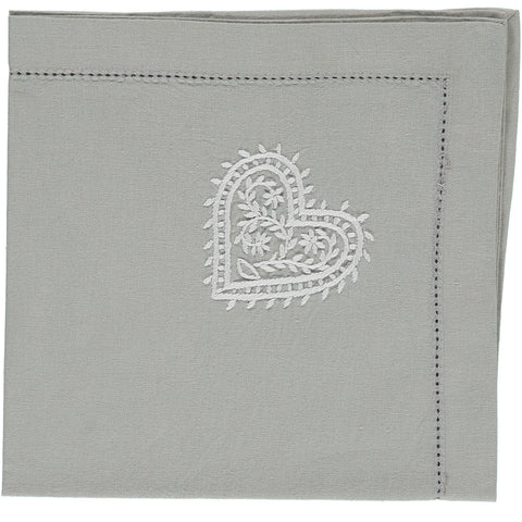 heart embroidered napkin