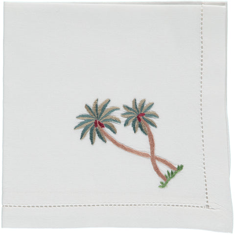 Palm tree embroidered napkin