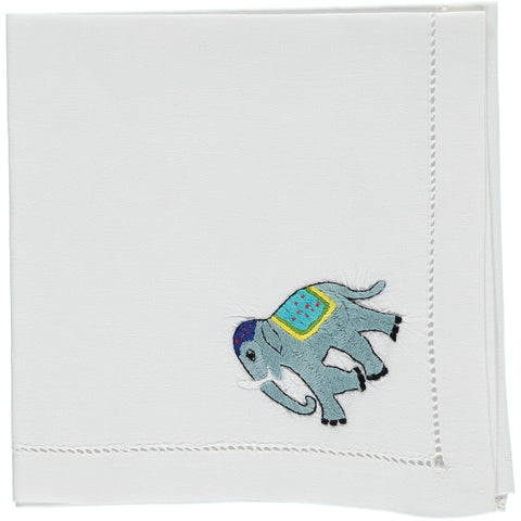 elephant embroidered napkin