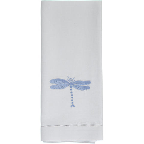 Blue dragonfly embroidered hand towel