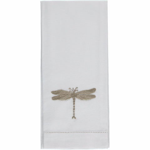 Flax dragonfly embroidered hand towel