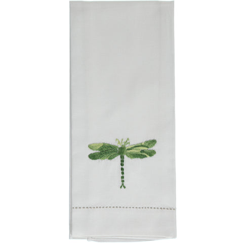Shaded green dragonfly embroidered hand towel
