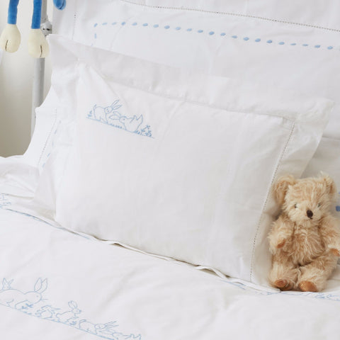 Blue bunnies baby pillowcase