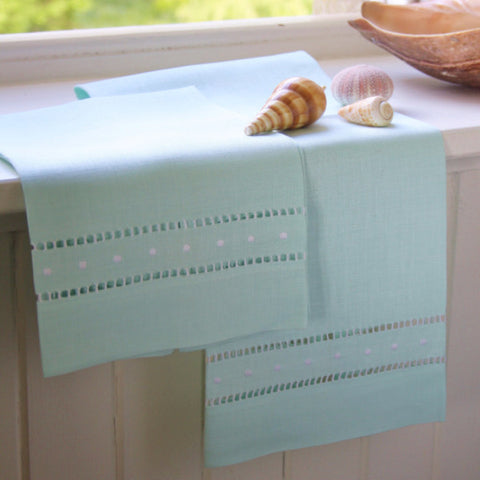 Mint green linen hand embroidered dots hand towel