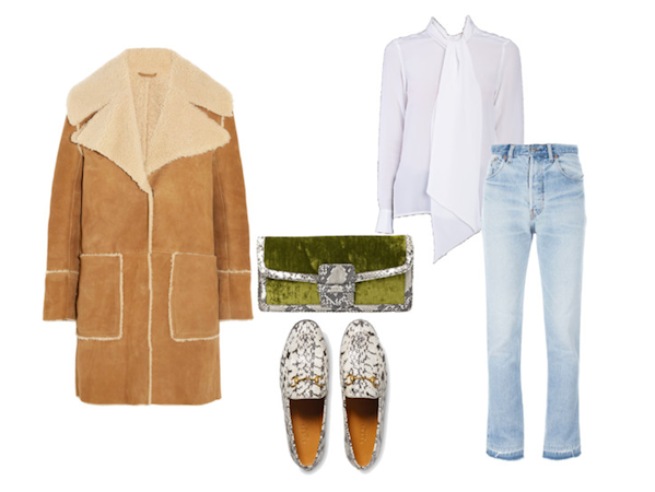 silk shirting layered under shearling 60s inspo