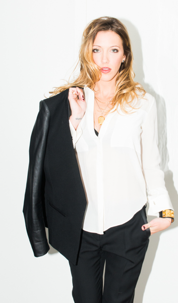 Katie Cassidy in a classic white silk shirt